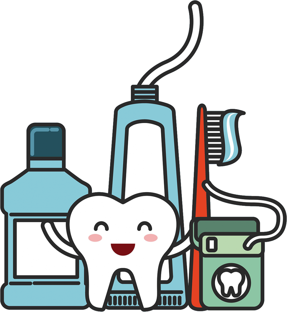 an illustration of dental products and a tooth